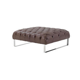 Brown Leather Buttoned Square Ottoman on Chrome Legs