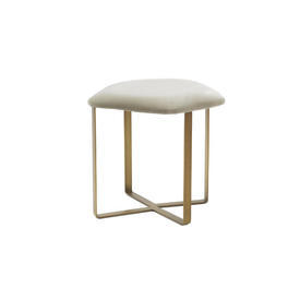 Gold Based ''Efren'' Stool with Taupe Velvet Seat