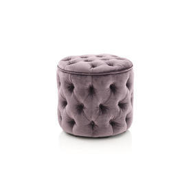 Lilac Velvet Buttoned Footstool