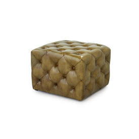 Buttoned Green Leather Cube Footstool