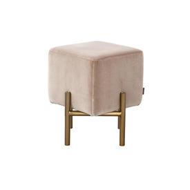 """Square Beige Velvet """"Parma"""" Footstool on Gold Frame"""