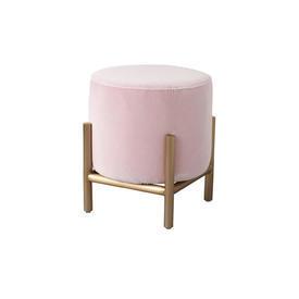 """Circular Rose Pink Velvet """"Parma"""" Footstool on Gold Frame"""