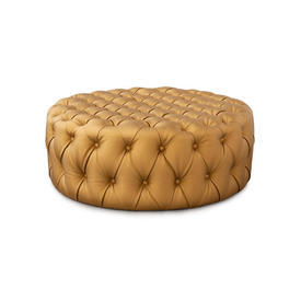 Circular Gold Silk Buttoned Ottoman