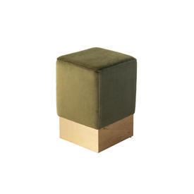Small Square Green Velvet ''Stella'' Stool with Brass Base
