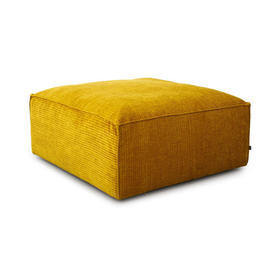 "Large Square Mustard Ribbed Fabric ""Cosima"" Pouf"
