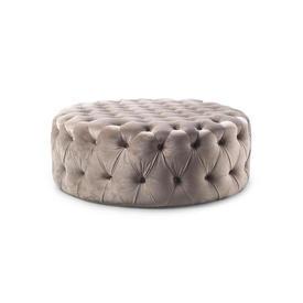 Circular Light Grey Velvet Buttoned Ottoman