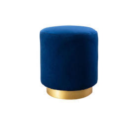 Navy Blue Velvet Footstool with Gold Base