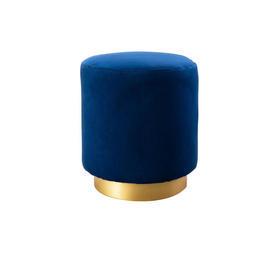 Navy Blue Velvet Footstool with Gold Base