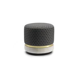 Grey Geometric ''Vincent'' Ottoman with Brass Trim & Cream Velvet Base