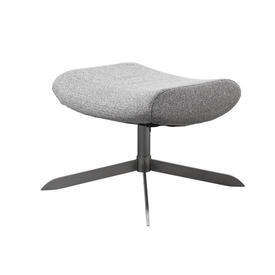 Grey Fabric 'Sion' Footstool on Brushed Metal Base
