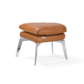 Tan Leather & Chrome Footstool