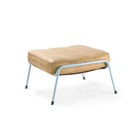 "Tan Leather ""Maggiolina"" Footstool on Pale Blue Metal Frame"