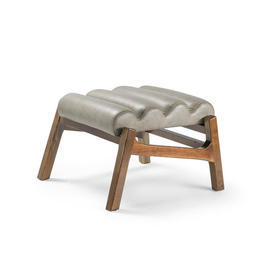 Grey Ribbed Leather & Wood Footstool