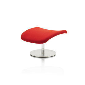"White Lacquer & Red Fabric ""Boson"" Footstool"