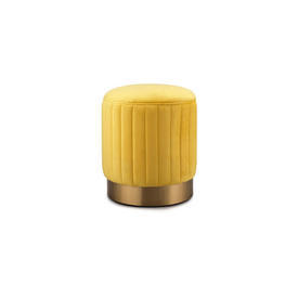 Roche Yellow Velvet 'Allegra' Stool with Gold Base