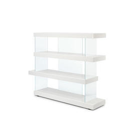 Short White Lacquered & Glass ''Air'' Shelving Unit