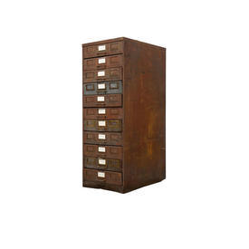 Aged Metal 11 Drawer Filing Unit