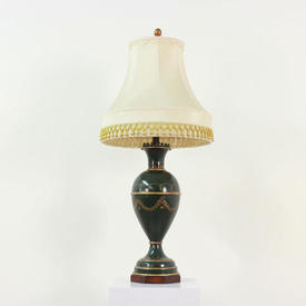 Green Vase Shape Table Lamp & Matching Shade with Gold Leaf Design