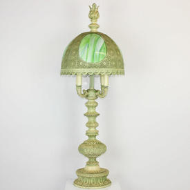 Cream & Green Ornate Metal 4-Light Table Lamp, with Finial & Fretted Tiffany Style Shade