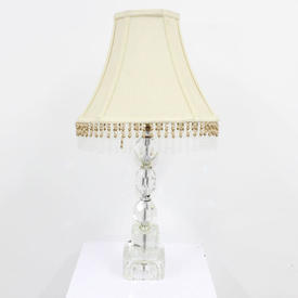 "16"" Clear Crystal & Chrome Trio Table Lamp with Stepped Base"