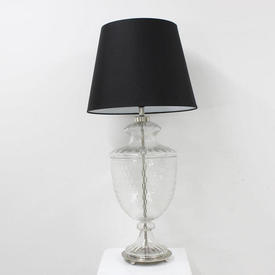 57Cm Clear Honeycomb Glass & Silver Urn Shaped Table Lamp