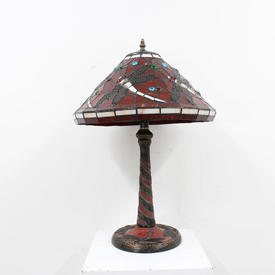 "Red Coloured Glass ""Butterfly"" Tiffany Lamp"