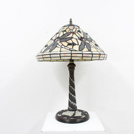"Ivory Coloured Glass ""Butterfly"" Tiffany Lamp"