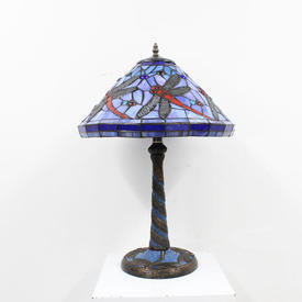 "Blue & Red Coloured Glass ""Butterfly"" Tiffany Lamp"