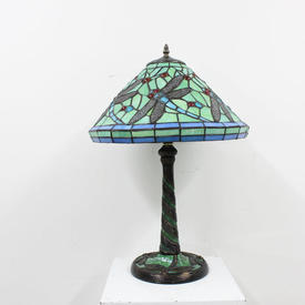 "Green Coloured Glass ""Butterfly"" Tiffany Lamp"