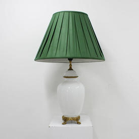 "21"" White Porcelain Table Lamp with Brass Footed Base & Decoration (H53Cm)"