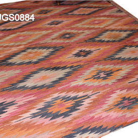 228Cm X 185Cm Orange, Black & Pink Diamond Pattern Kilim Rug
