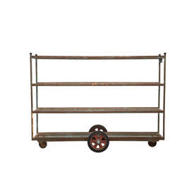 Rust Metal Narrow Florist Shelf Unit on Wheels