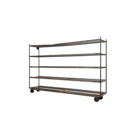 Long 5 Tier Metal Slatted Shelf Unit