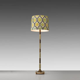 Green onyx & Brass Column Floor Lamp (Shade Not included)