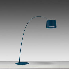 Blue ''Twiggy'' Arc Floorstanding Lamp with Blue Drum Shade