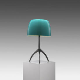 Gunmetal Tripod ''Lumiere'' Table Lamp with Turquoise Glass Shade