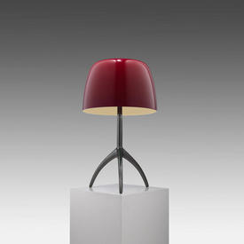Gunmetal Tripod ''Lumiere'' Table Lamp with Cherry Red Glass Shade