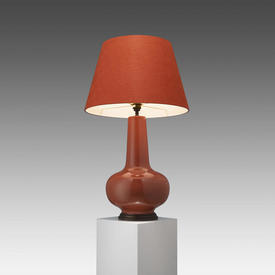 Paprika Orange Ceramic Bulbous ''Sybil'' Table Lamp on Aged Bronze Base with Shade