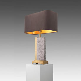 Rect Grey Marble & Brushed Gold ''Pietro'' Table Lamp with Smokey Grey Velvet Rect Shade