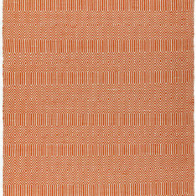 Orange Geometric Pattern ''Sloan'' Flatweave Rug