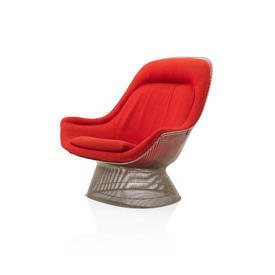Warren Platner Red Fabric Steel Rod Base Easy Chair