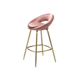 Blush Velvet & Gold Bar Stool