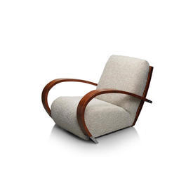 Cream Boucle ''Tresserra'' Wood Loop Arm Chair