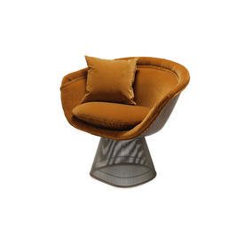 Warren Platner Mustard Fabric Steel Rod Base Armchair