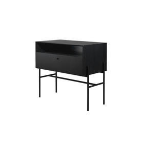 Black Oak Wood Single Drawer Side Table on Black Legs