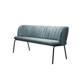 Light Blue Pleated Velvet Sofa on Black Legs