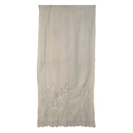 """Wall Hanging 7'10"""" x 3'6"""" Ivory Linen Floral Emb Cutwork / Applique Lace Inset"""