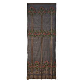 """Wall Hanging 10'7"""" x 4'5"""" Charcoal Floral Stripe Muslin"""