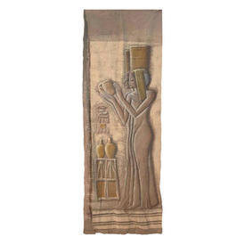 """Wall Hanging 6'7"""" x 2'2"""" Beige / Silver Egyptian Ladies 'Stone Carving' Screen Print"""