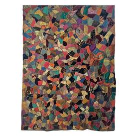 "Wall Hanging 6'10"" x 5'2"" Dark Jewel Silk & Velvet Random Patchwork"